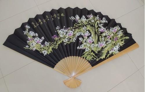 Leque De Parede Oriental Flor De Sakura Preto - KL