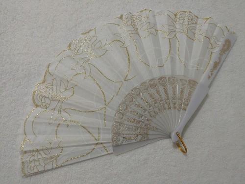 Leque De Tecido Branco Com Dourado - Modelo 2