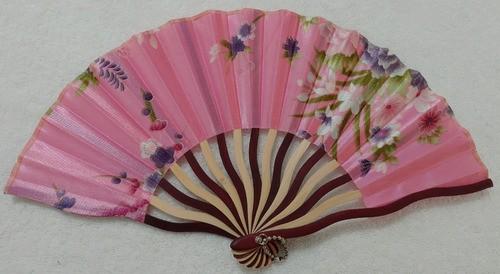 Leque Japonês Rosa Com Flor