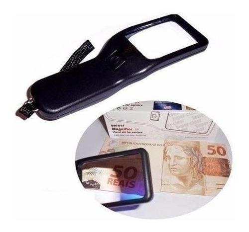 Lupa Aumento 5x Led Ultravioleta Uv Testa Dinheiro