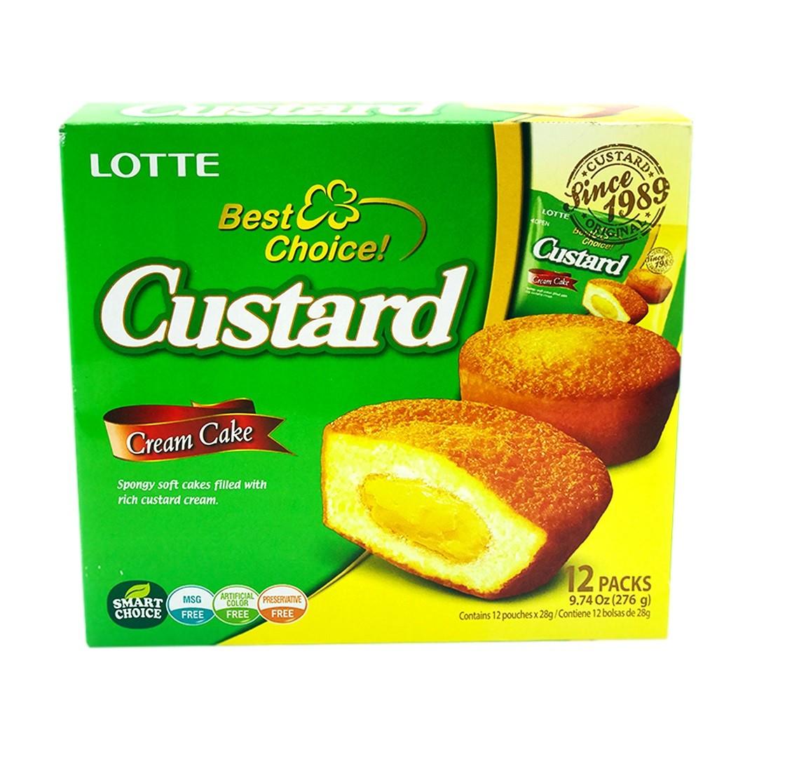 Mini Bolo Custard Soft Cake 12 unidades - Lotte 276g