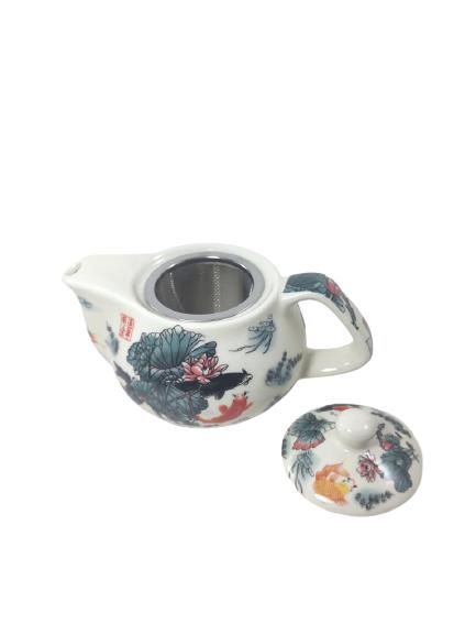 Mini Bule Cerâmica Com Coador P/ Chá Chaleira 220 Ml