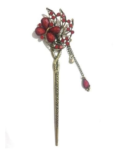 Palito Hashi Para Cabelo Flor Metal - Modelo 23