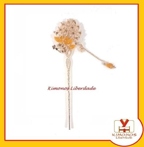 Palito Hashi Para Cabelo Flor Metal - Modelo 2