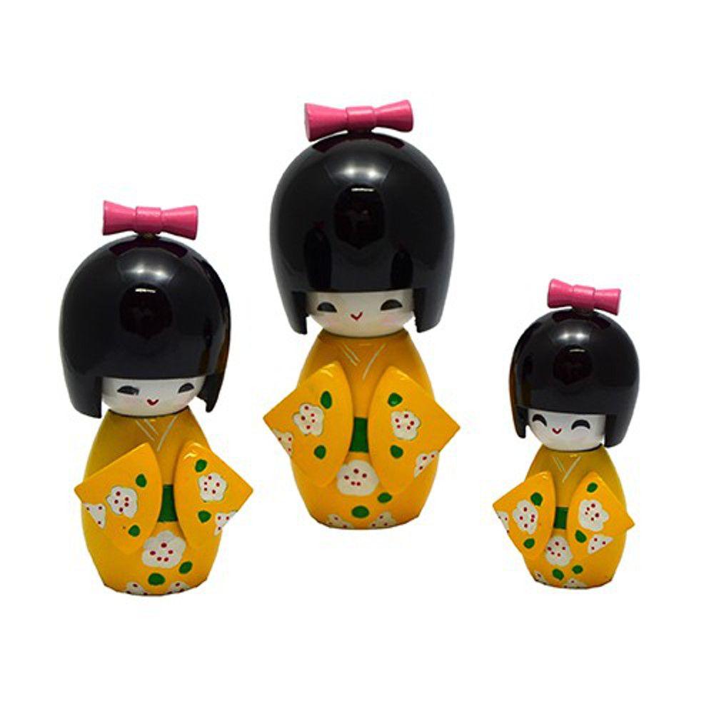 Trio Bonecas Kokeshi Japonesas De Madeira Amarelo 2 KL