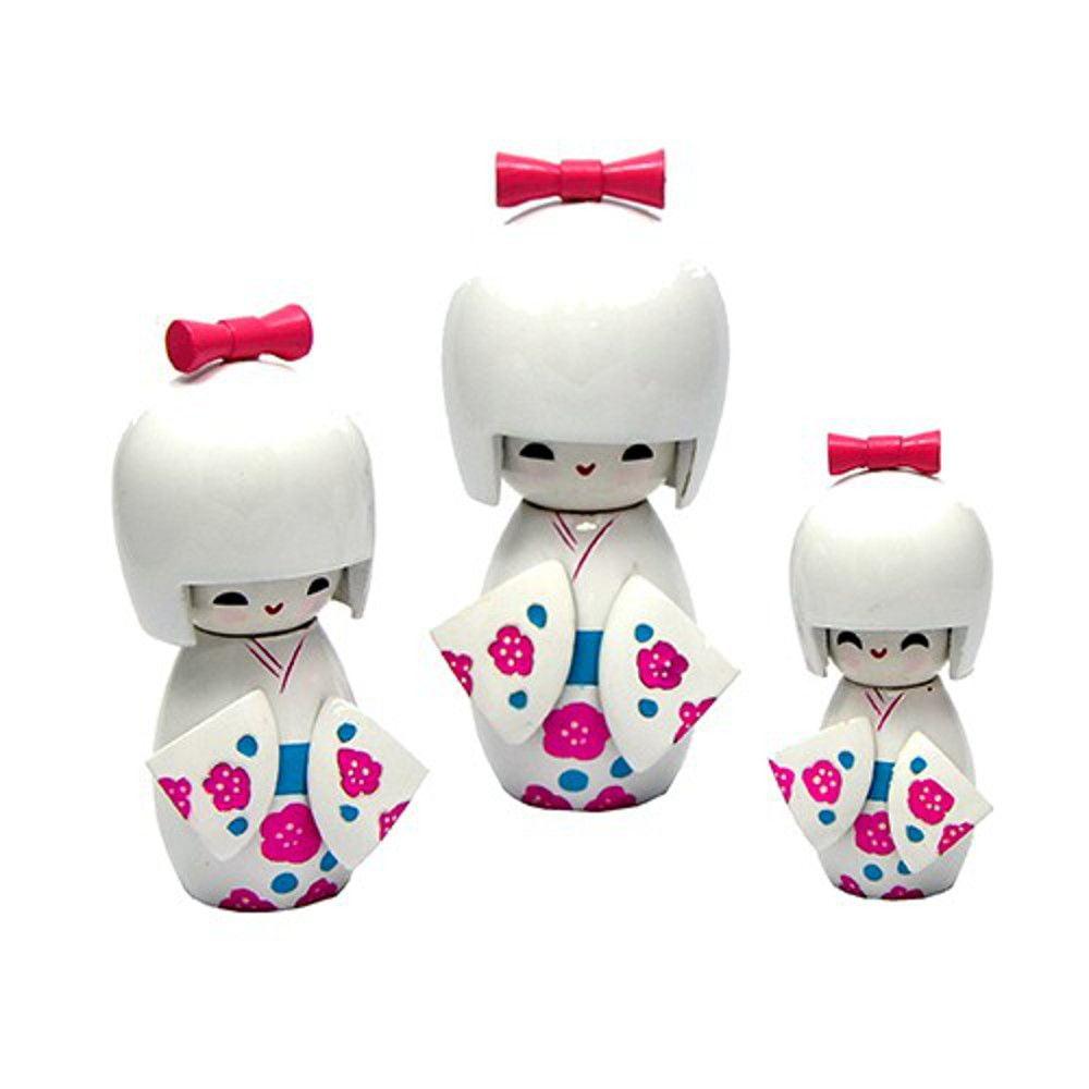 Trio Bonecas Kokeshi Japonesas De Madeira Branca KL