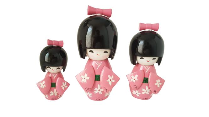 Trio Bonecas Kokeshi Japonesas De Madeira Rosa ClaroKL