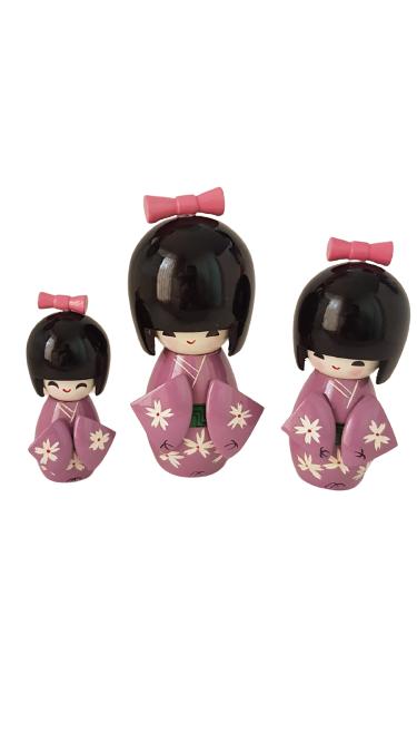 Trio Bonecas Kokeshi Japonesas De Madeira Roxa KL
