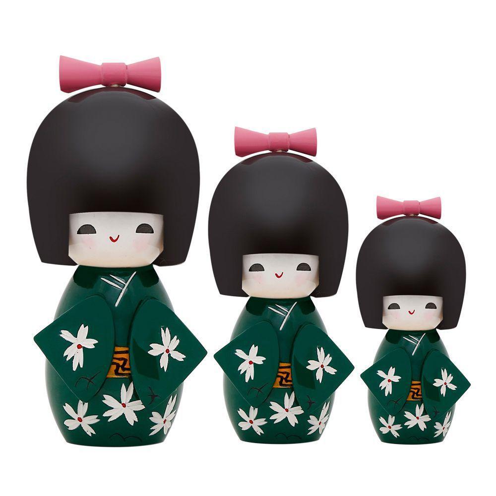 Trio Bonecas Kokeshi Japonesas De Madeira Verde KL