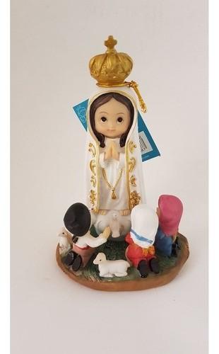 Virgem De Fátima Criança 15cm Resina