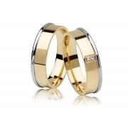 Aliança Anatômica de Casamento JOE em Ouro Amarelo e Branco 18k e Diamantes (5.30mm)
