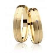 Aliança Casamento Destiny Ouro 18k Fosco e 1,5 Pontos de Diamante (5mm)