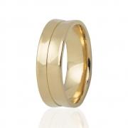Aliança Côncava de Casamento em Ouro 18k e Diamante (5.5mm)