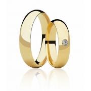 Aliança de Casamento Abaulada Ouro 18k e 5 Pontos de Diamante (5mm)