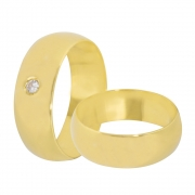 Aliança de Casamento Anatômica em Ouro 18k e Diamante (7mm)