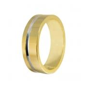 Aliança de Casamento Anatômica em Ouro Amarelo e Branco (5.8mm)