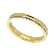 Aliança de Casamento em Ouro Amarelo e Branco Côncava e Filete (3mm)