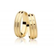 Aliança de Casamento Joy Ouro 18k Diamantada (5mm)