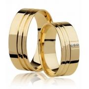 Aliança de Casamento Large Ouro 18k Reta 2 Frisos (6mm)