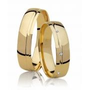 Aliança de Casamento Ouro 18k Absolute Friso e Pedra (4.75mm)