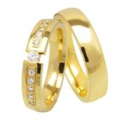 Aliança de Casamento Tension em Ouro amarelo com Pedras (4.8mm)