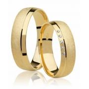 Aliança de Ouro Amarelo 18k Promise Diamantada - (5mm)