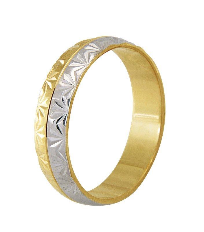 Aliança Bodas de Casamento em Ouro 18k Trabalhada (4.80mm)