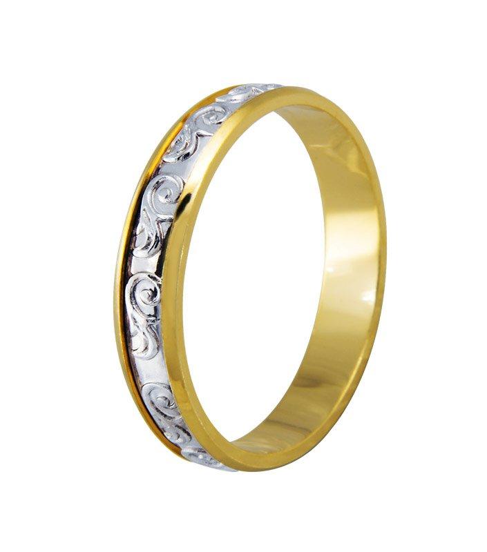 Aliança Bodas de Prata Bicolor em Ouro 18k (4mm)