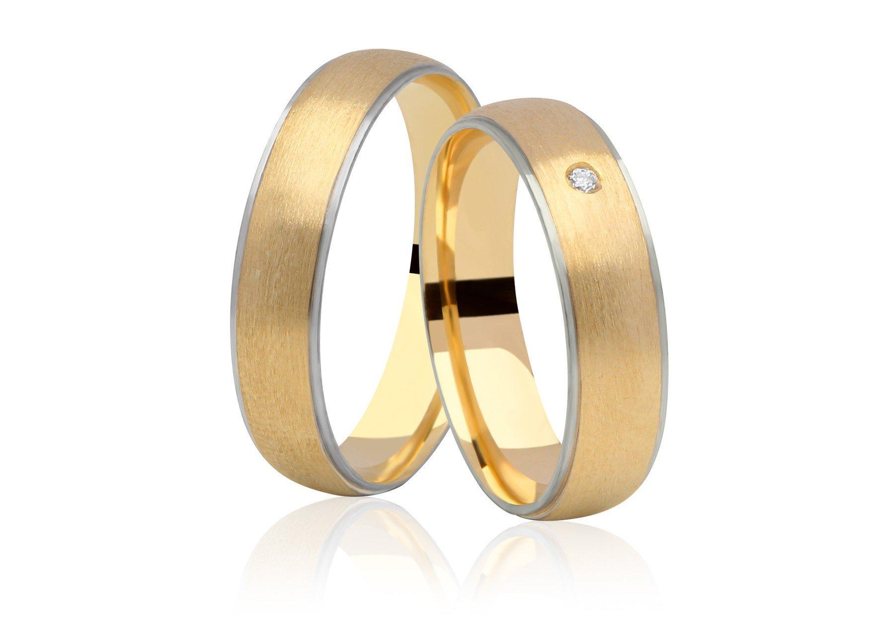 Aliança Casamento Anatômica de Ouro Amarelo e Branco Siàge (5.80mm)