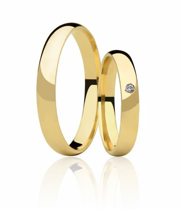 Aliança de Casamento Classic em Ouro 18k e Diamante (4mm)