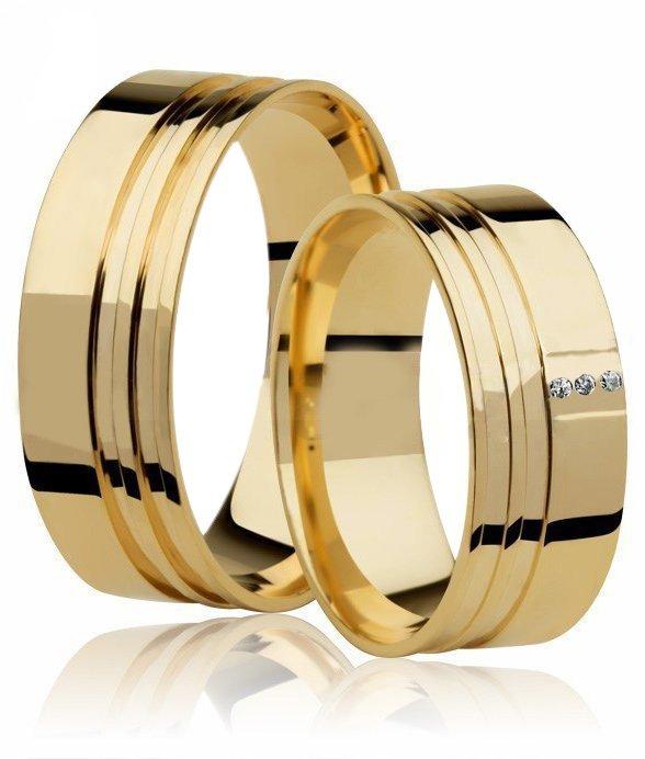 Aliança de Casamento Large Ouro 18k e 3 Pontos de Diamantes (7mm)
