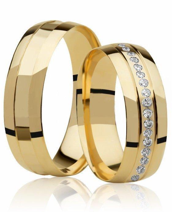 Aliança de Casamento Mon I Ouro 18k  Com Pedras Volta Inteira  (6mm)