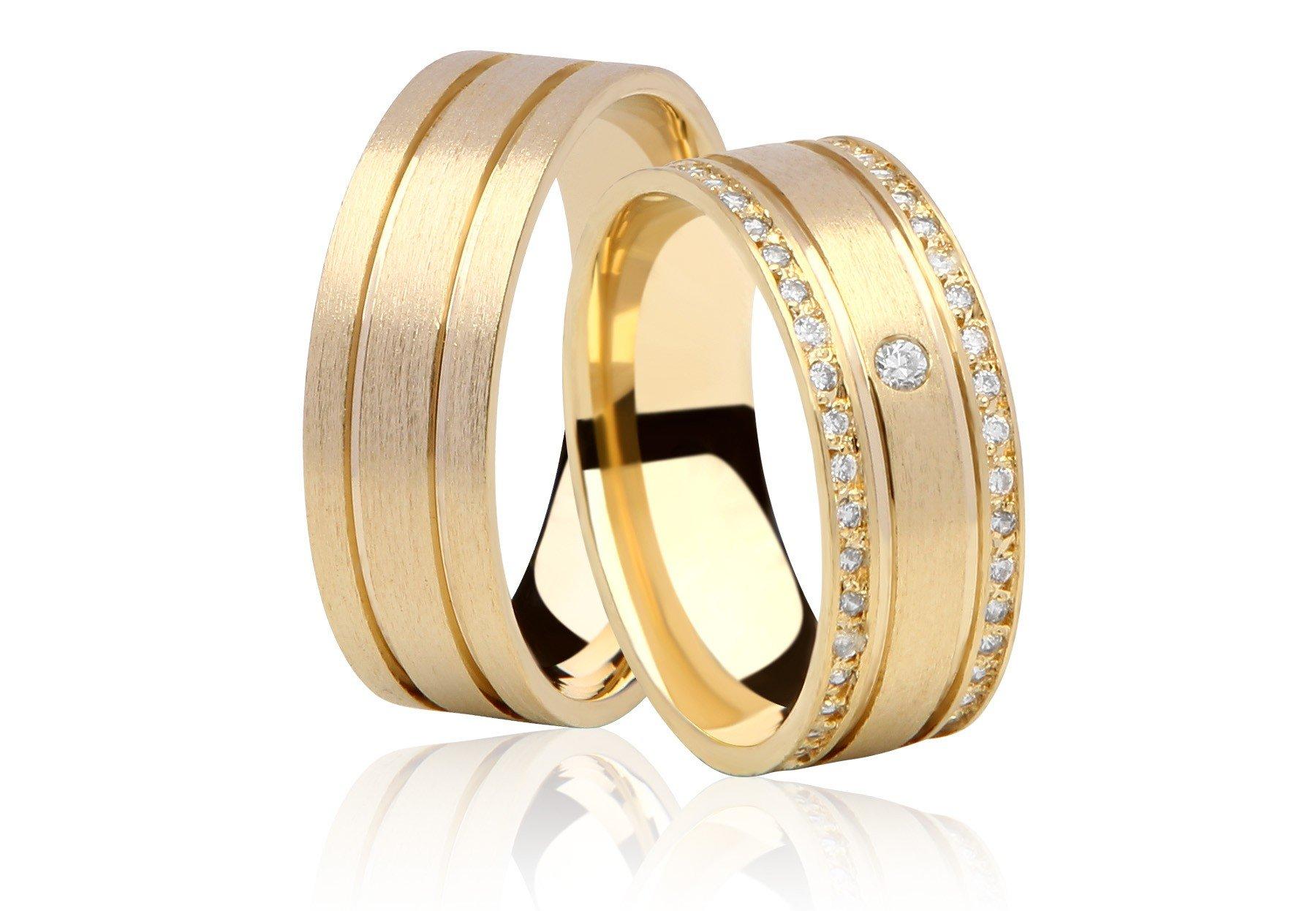 Aliança de Casamento Ouro 18k BIDEN Cravejadas em Pedras (7.6 mm)