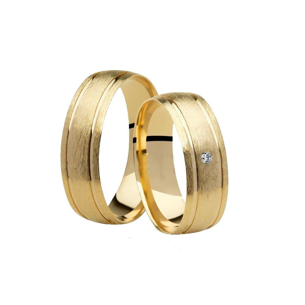 Aliança de Casamento Wish Ouro 18k Fosca e Diamante (6mm)