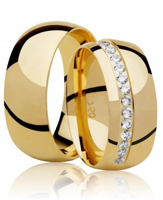 Alianças Casamento Fusion de Ouro 18k com Pedras (7.80mm)