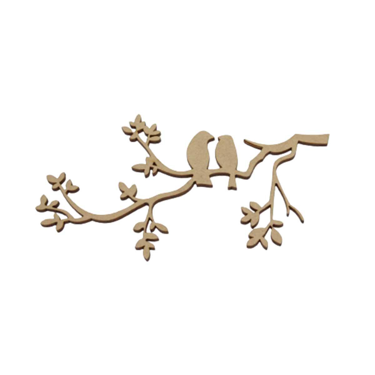 Aplique em MDF - Casal de Pássaros no Galho