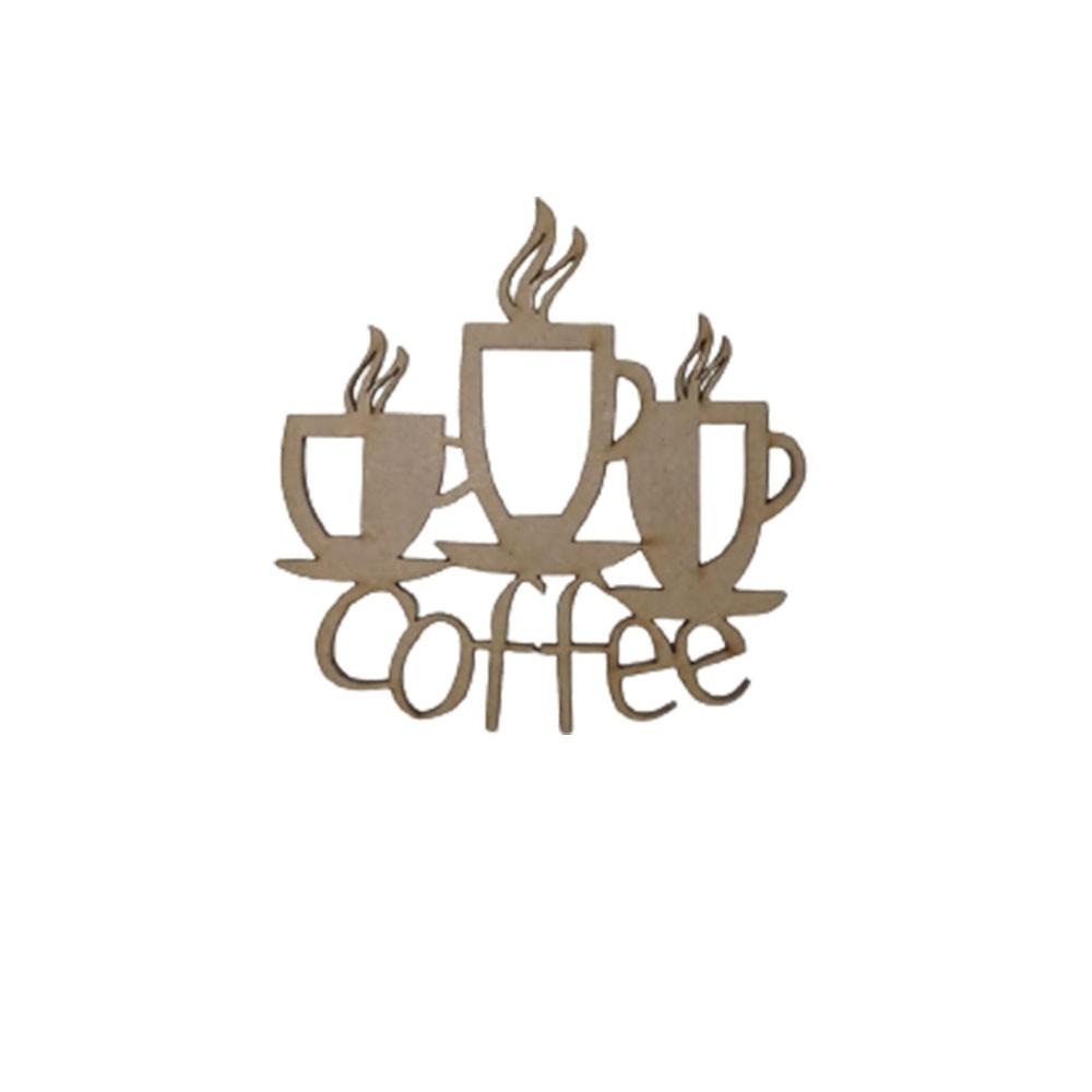 Aplique em MDF - Coffee 3 Xícaras