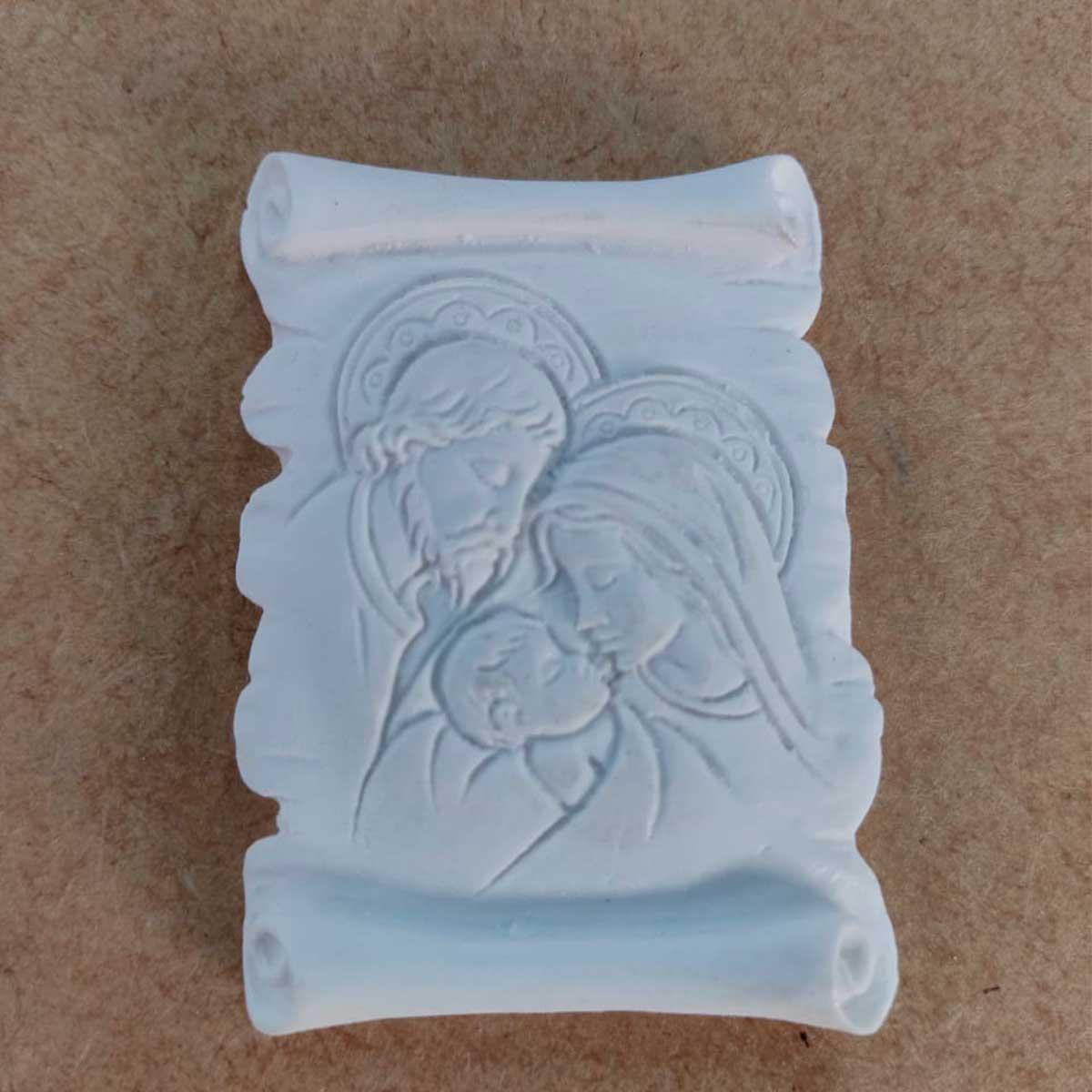 Aplique em Resina - Pergaminho Sagrada Família 6x4,5
