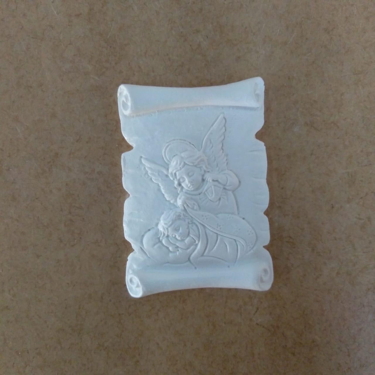 Aplique em Resina - Pergaminho Santo Anjo 6x4,5