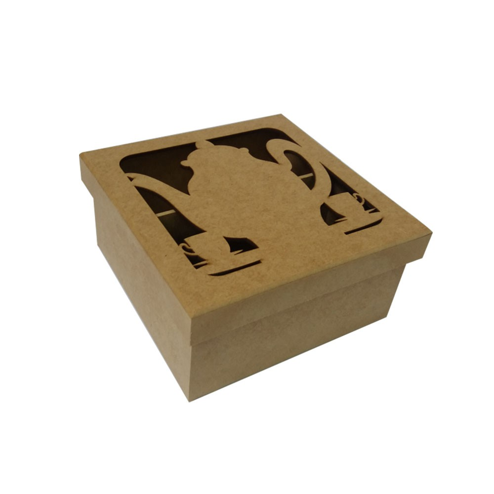 Caixa em MDF para Chá - Bule 4 Divisórias