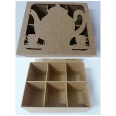Caixa em MDF para Chá - Bule 6 Divisórias