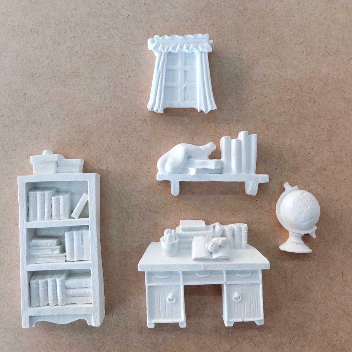 Aplique em Resina - Kit Escritório c/ 5 peças