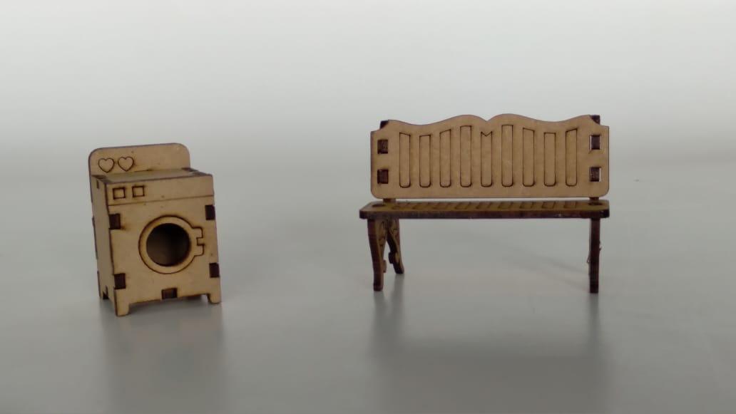 Kit Casinha em MDF - Pequena + Móveis