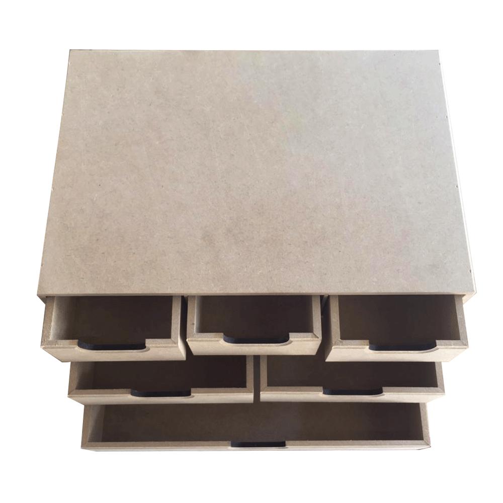 Organizador de mesa em MDF - 6 gavetas