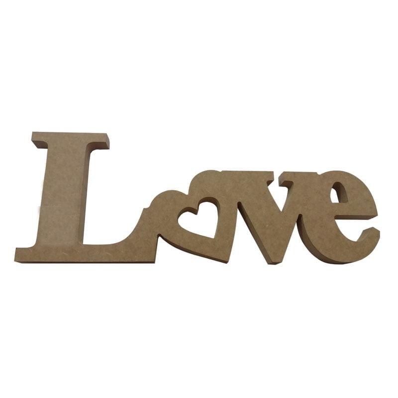 Palavra Love - Coração Inclinado