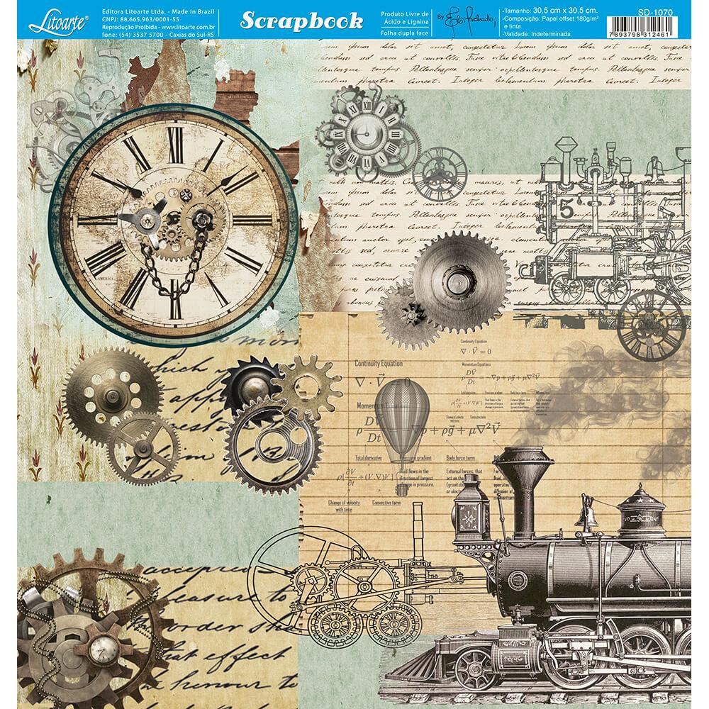 Papel Scrabook - Litoarte SD-1070