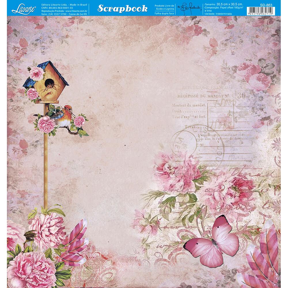 Papel Scrabook - Litoarte SD-863