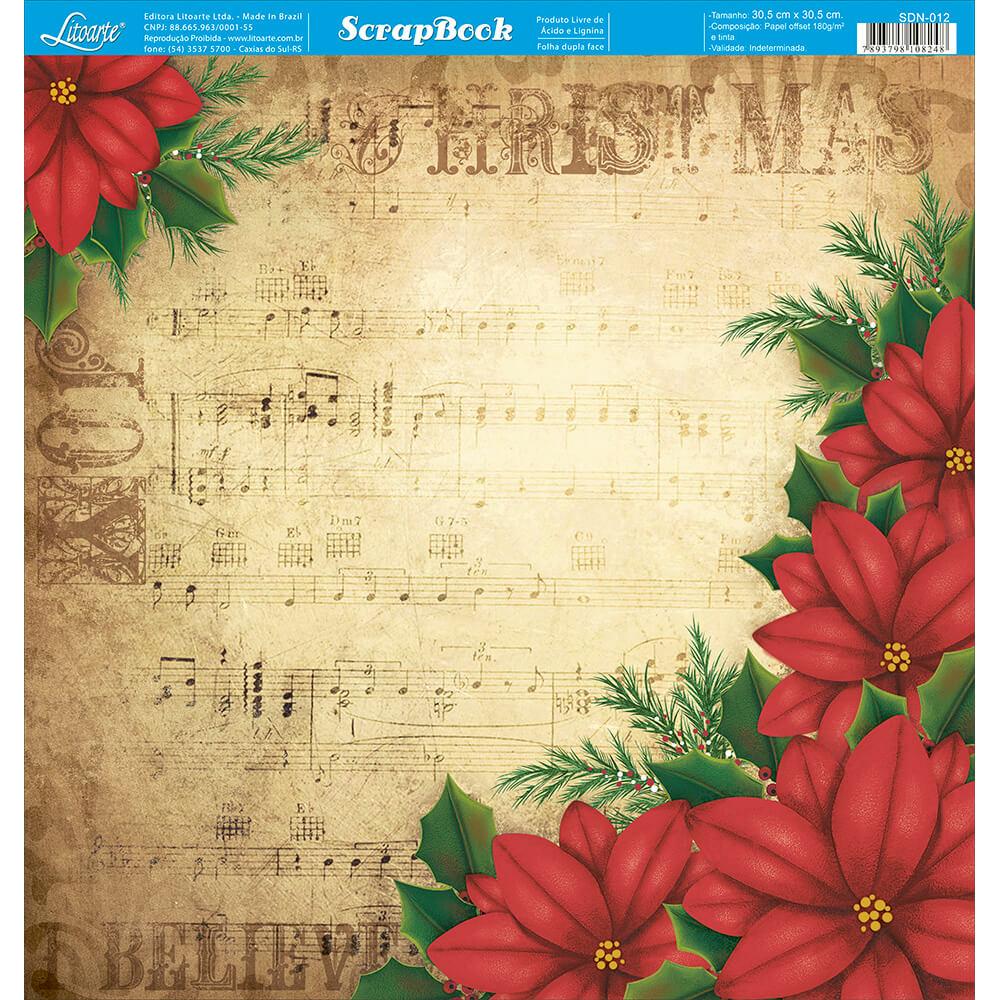Papel Scrapbook - Litoarte - SDN012 - Natal