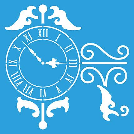Stencil Litoarte STA 093 Relógio Em Numerais Romanos