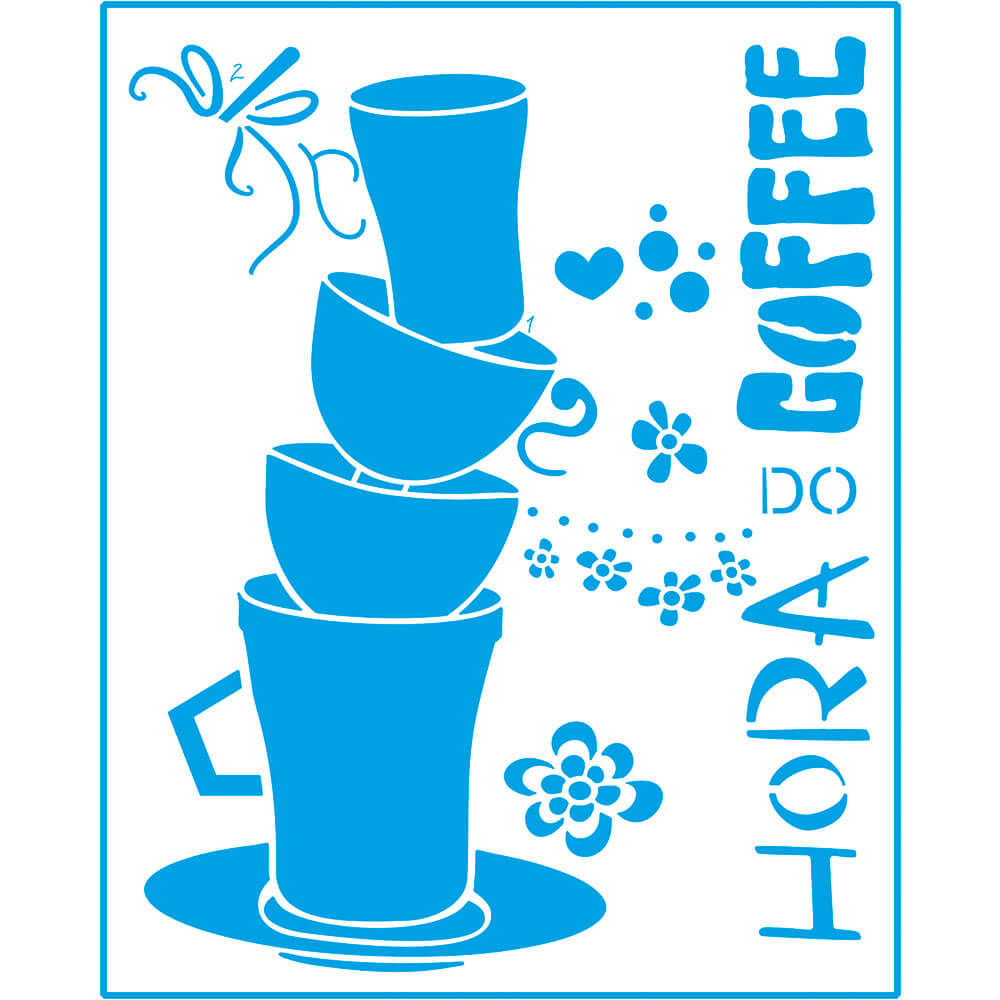 Stencil Litoarte STR 062 Hora do Café Sobreposição